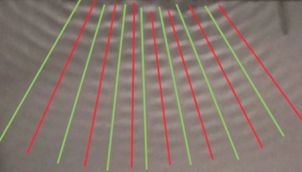 Lines of cosructive and destructive interference of water waves