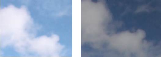 Contrasting images to show how a polaroid filter is useful when photographing sky
