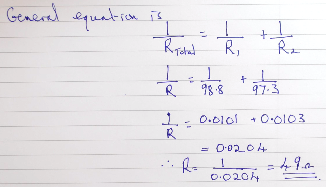 Using the equation for resistors in parallel