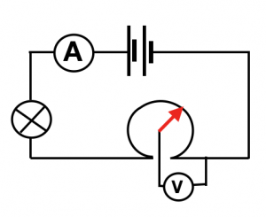Pictorial image of a small rotational potentiometer, the contact slides around the arc of resistance material