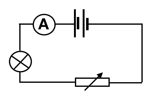 A circuit diagram showing the use of a variable resistor to control the brightness of a lamp